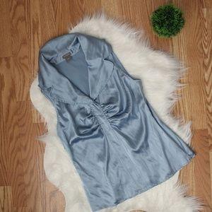 Ann Taylor Blue Collar Sleeveless Silk Blouse 6